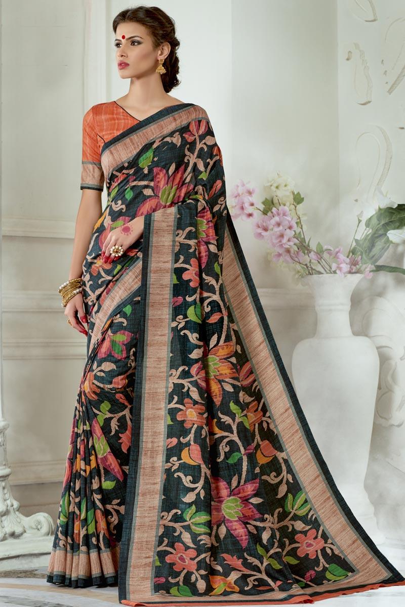 Mesmeric Black Printed Fancy Party Wear Art Silk Fabric Saree