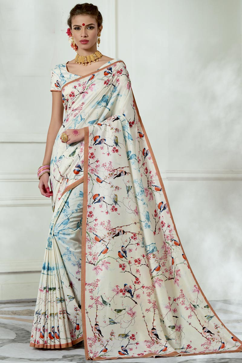 Chic Party Wear Art Silk Fabric Off White Fancy Printed Saree