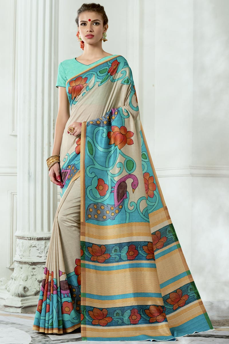 Alluring Art Silk Fabric Printed Fancy Saree In Cream Color