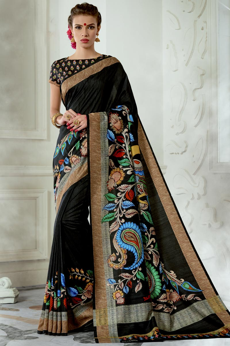 Trendy Party Wear Black Art Silk Fabric Printed Saree