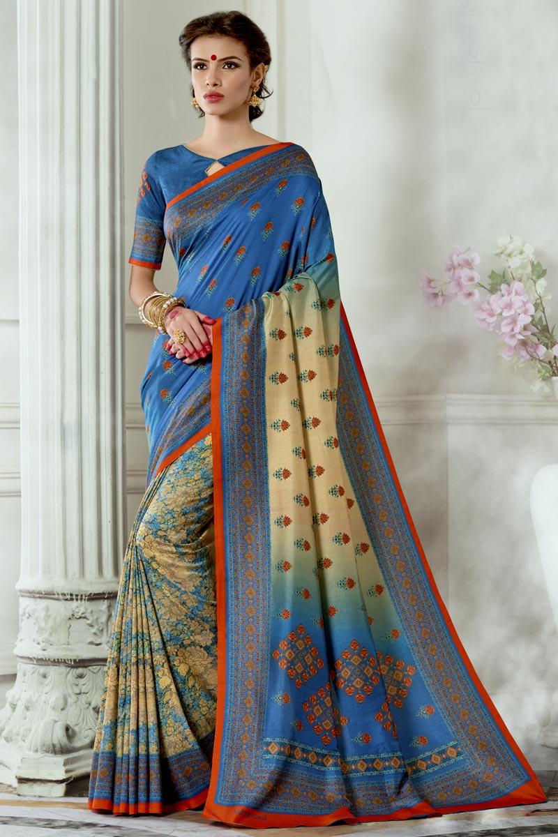 Stylish Sky Blue Art Silk Fabric Party Wear Printed Saree