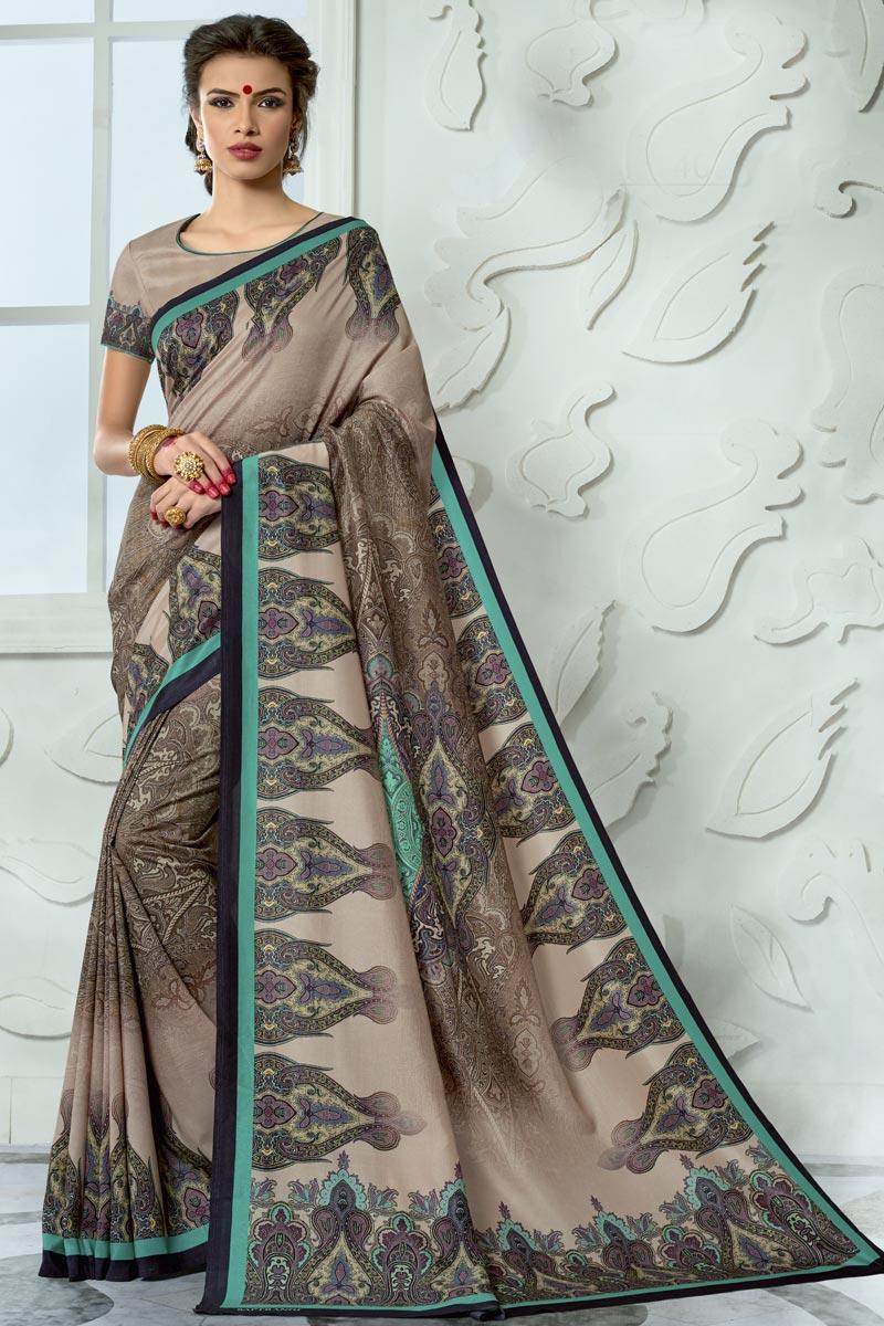 Vibrant Party Wear Art Silk Fabric Printed Fancy Saree In Dark Beige