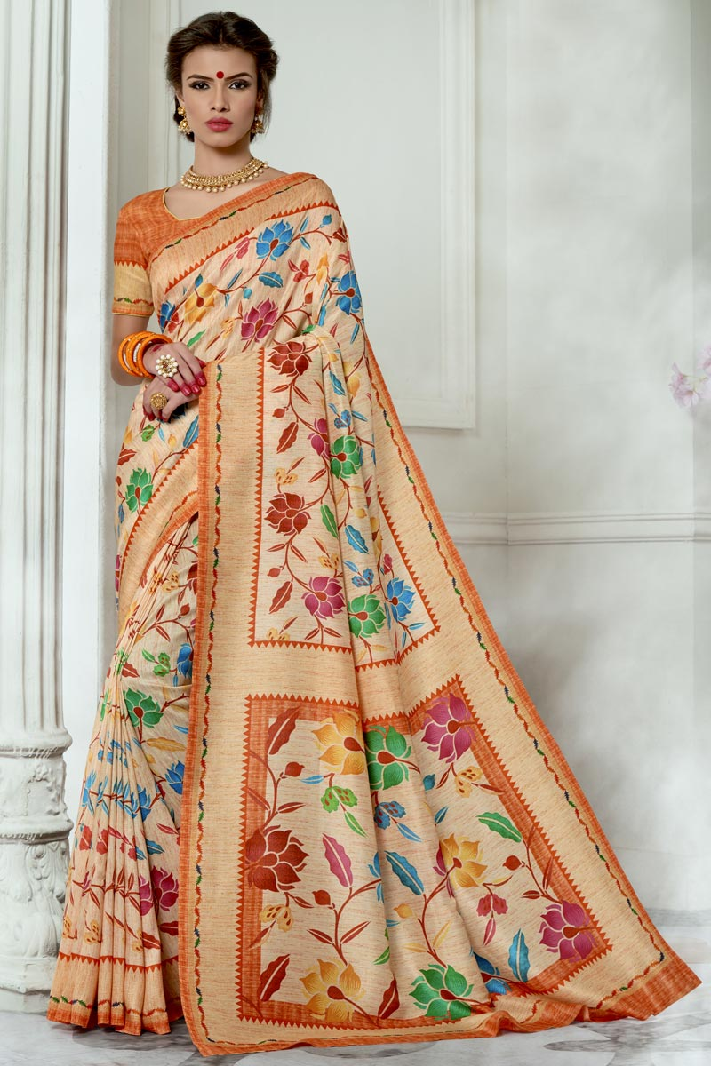 Chic Party Wear Chikoo Color Art Silk Fabric Fancy Printed Saree