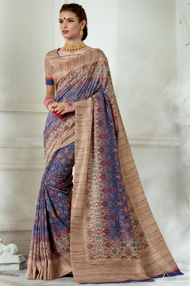 Vibrant Party Wear Printed Blue Fancy Saree In Art Silk Fabric