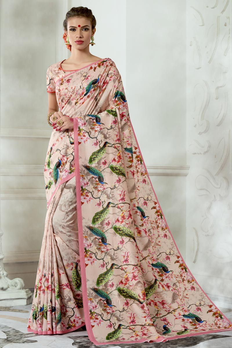 Mesmeric Chikoo Color Printed Fancy Party Wear Saree In Art Silk Fabric