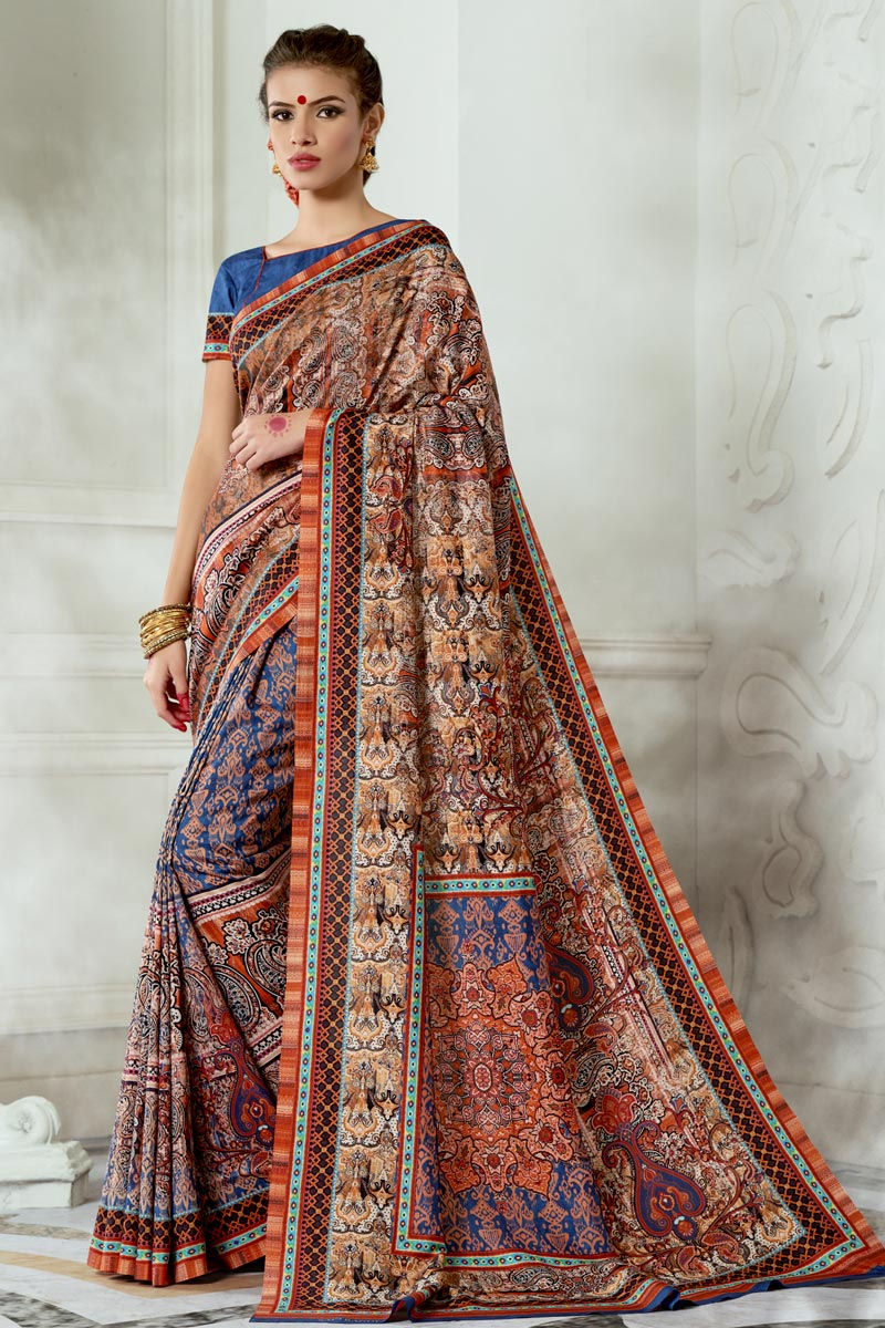 Trendy Party Wear Art Silk Fabric Multi Color Printed Saree