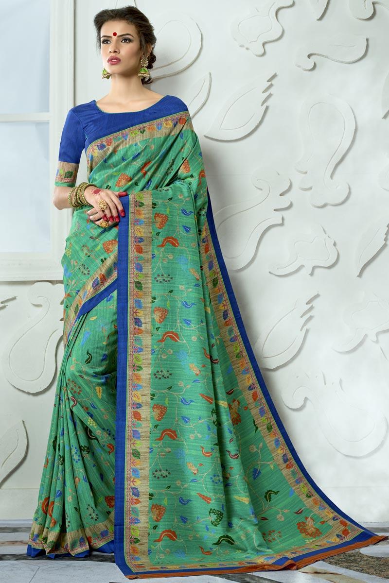 Vibrant Party Wear Cyan Printed Fancy Saree In Art Silk Fabric