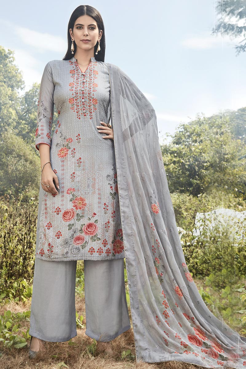 Designer Art Silk Fabric Festive Wear Printed Embroidered Grey Color Palazzo Suit