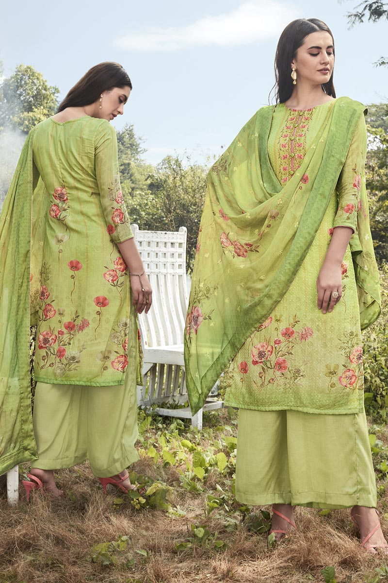 Art Silk Fabric Festive Wear Designer Printed Embroidered Green Color Palazzo Dress