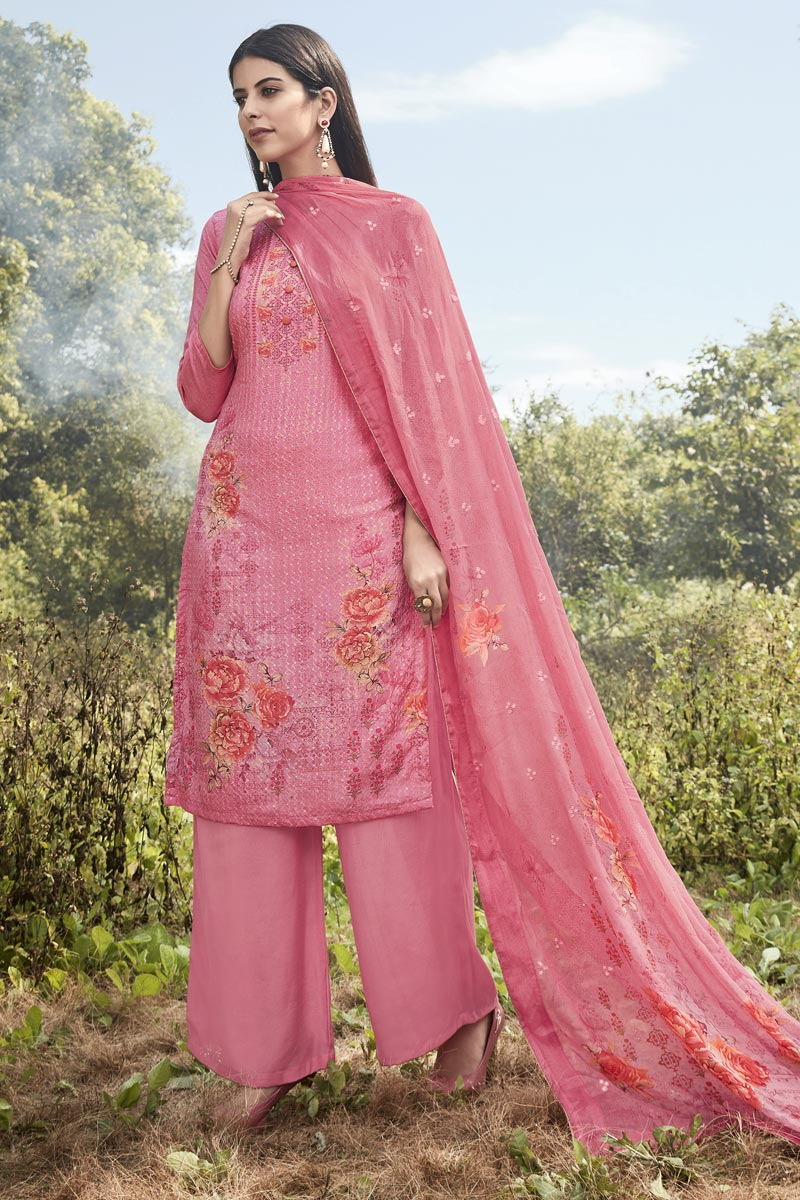 Festive Wear Art Silk Fabric Designer Pink Color Printed Embroidered Palazzo Suit