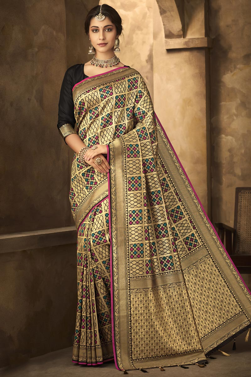 Black Color Office Party Wear Art Silk Fabric Classic Weaving Work Saree