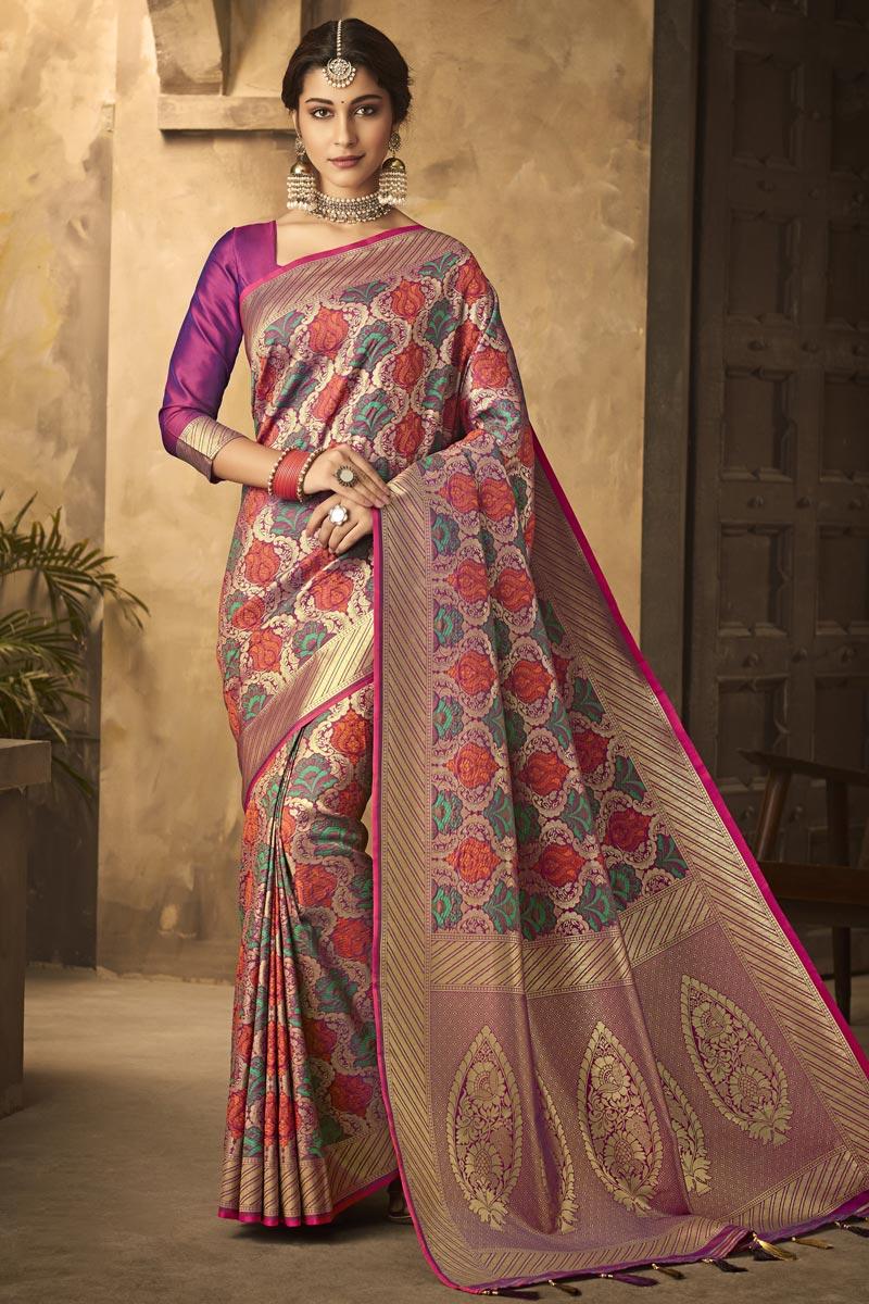 Office Party Wear Rani Color Classic Art Silk Fabric Weaving Work Saree