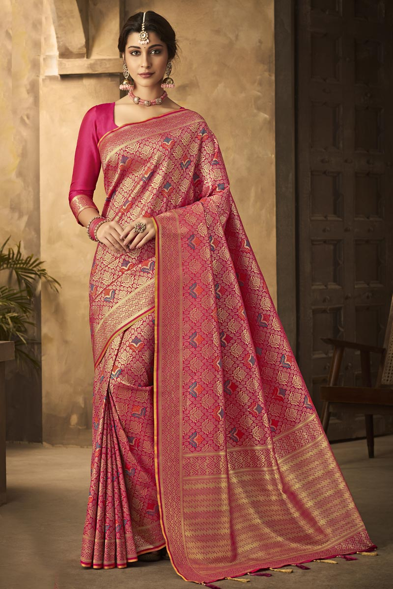 Office Party Wear Art Silk Fabric Classic Weaving Work Saree In Rani Color