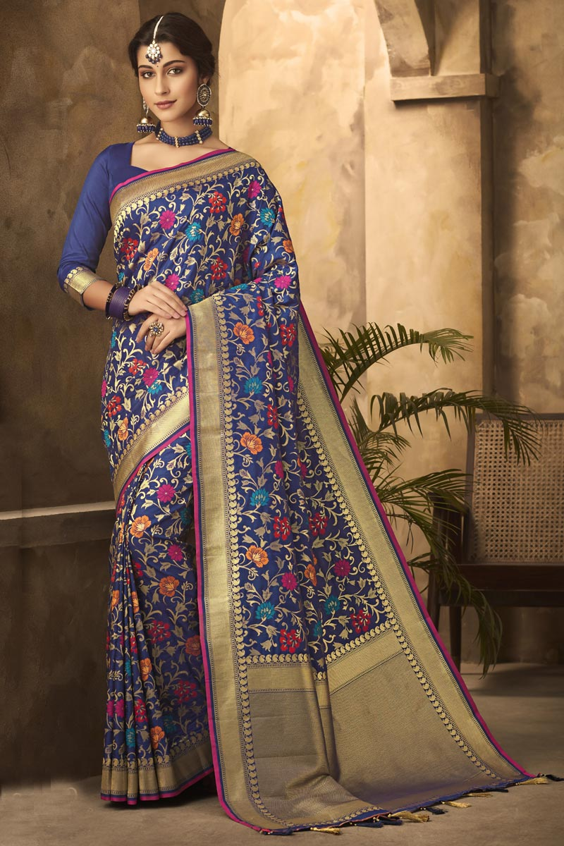 Classic Office Party Wear Art Silk Fabric Weaving Work Saree In Navy Blue Color
