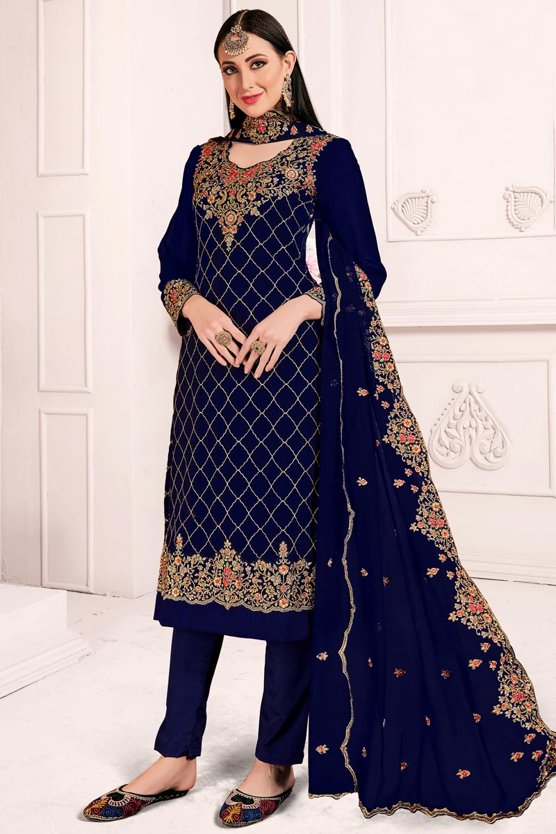 Festive Wear Elegant Navy Blue Embroidered Straight Cut Suit In Grorgette Fabric