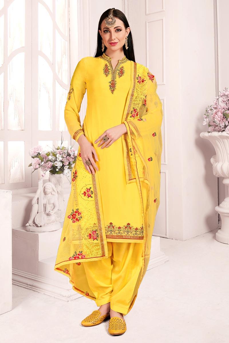 Elegant Yellow Festive Wear Embroidered Satin Georgette Fabric Patiala Dress