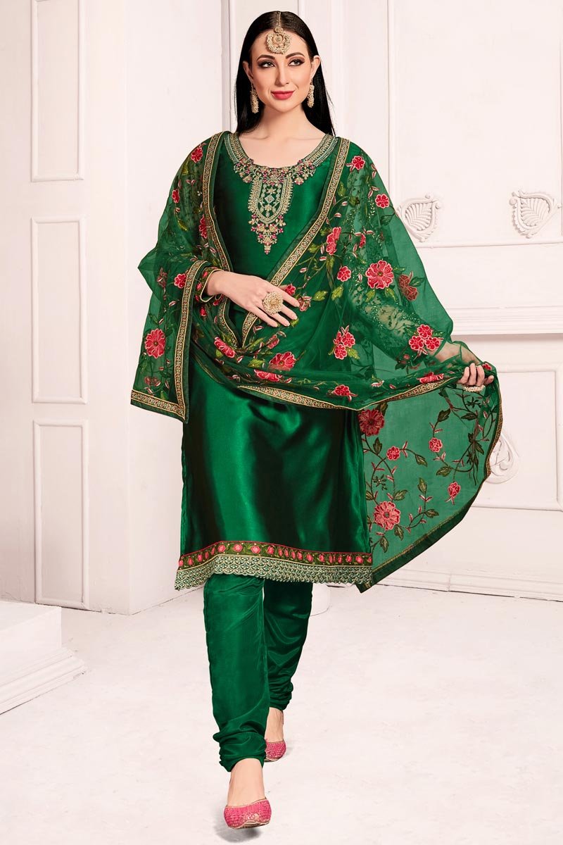 Green Festive Wear Elegant Embroidered Straight Cut Suit In Satin Grorgette Fabric