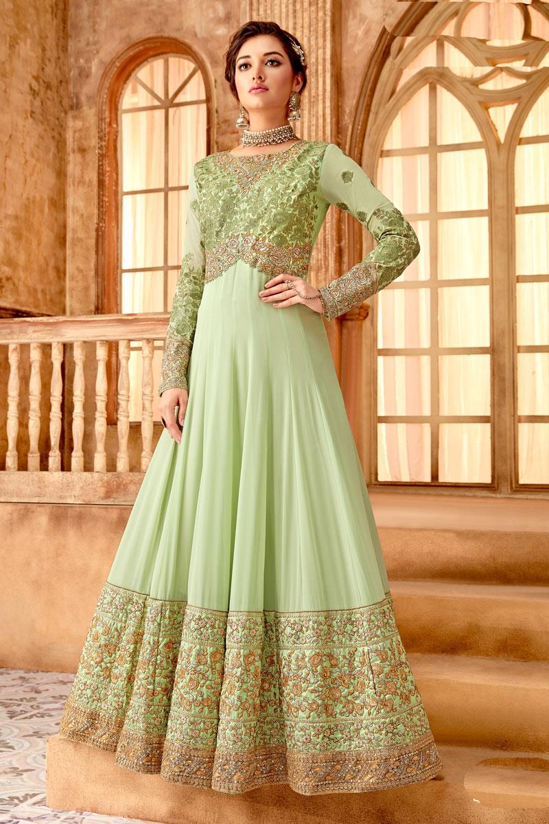 Magnetic Green Color Georgette Fabric Part Wear Anarkali Salwar Kameez