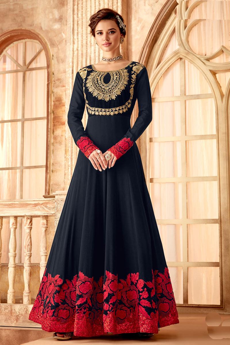 Glamorous Navy Blue Color Party Wear Anarkali Salwar Suit In Georgette Fabric