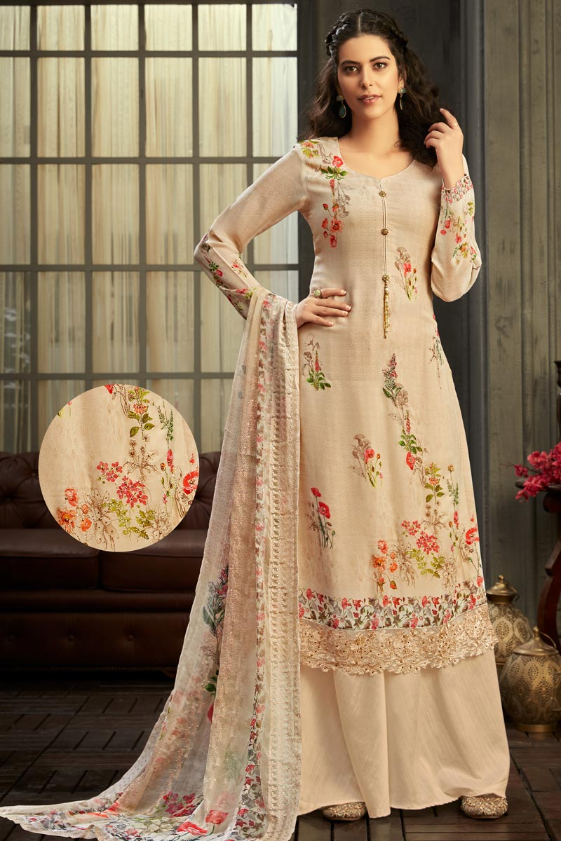 Party Wear Beige Color Classic Viscose Fabric Printed Palazzo Dress