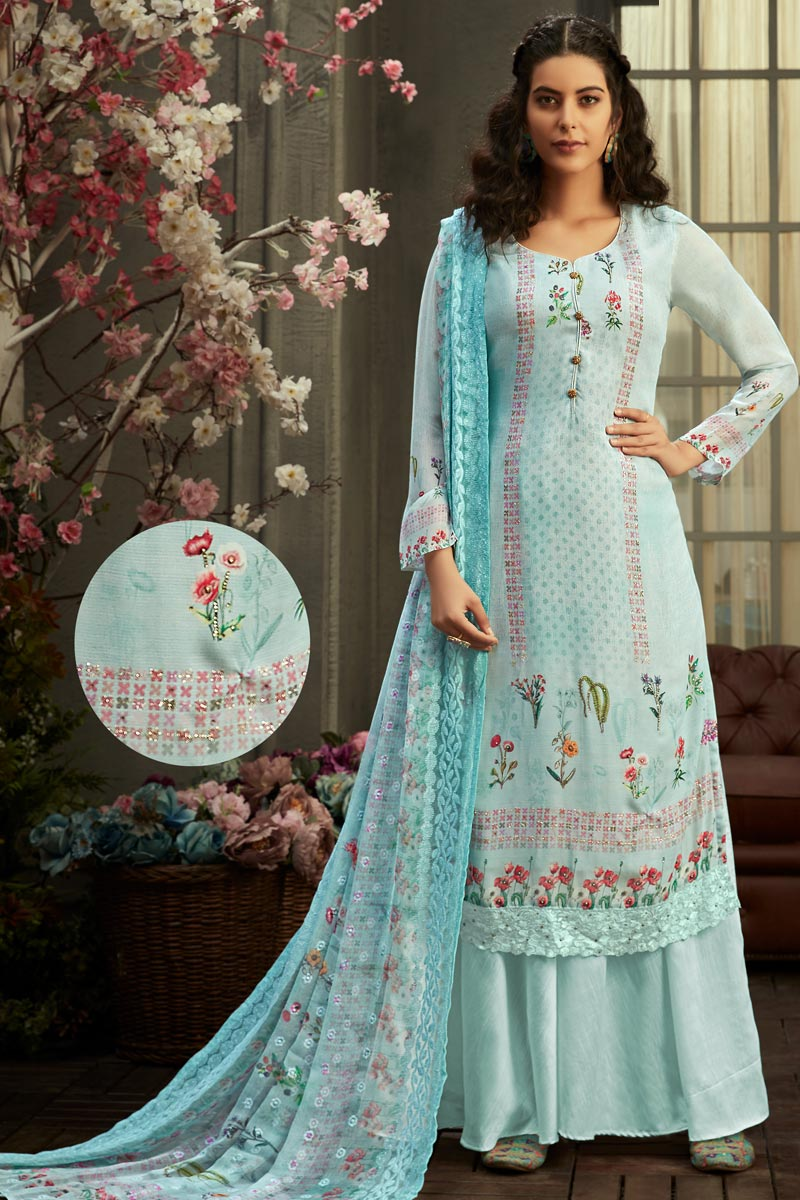 Classic Viscose Fabric Party Wear Printed Palazzo Suit In Light Cyan Color