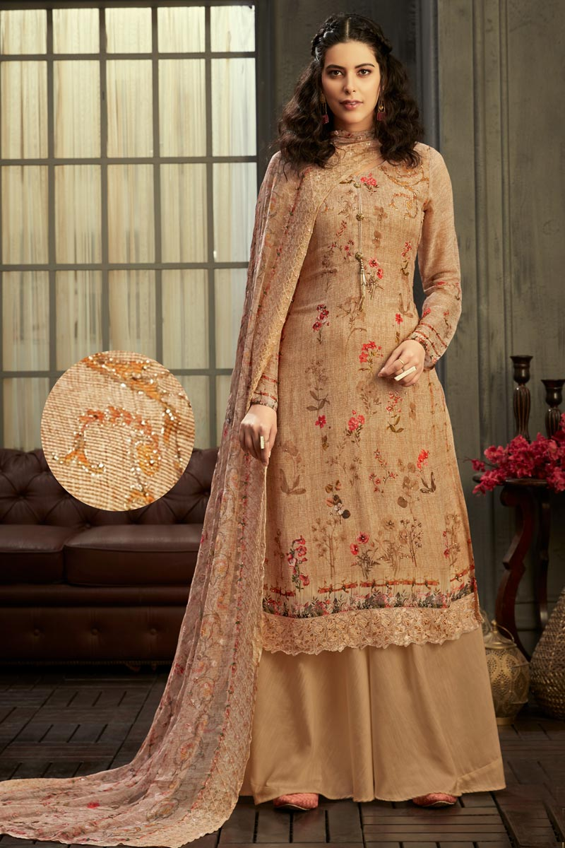 Party Wear Classic Chikoo Color Printed Viscose Fabric Palazzo Dress