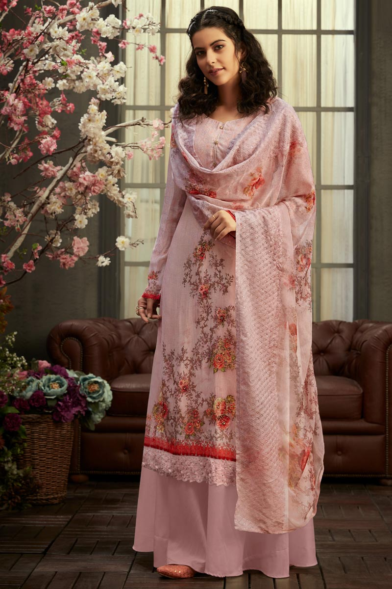 Party Wear Classic Viscose Fabric Printed Palazzo Suit In Pink Color