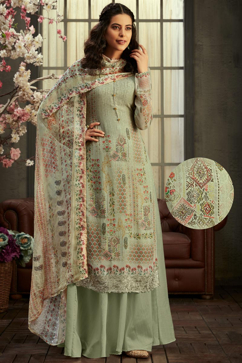 Classic Viscose Fabric Party Wear Printed Sea Green Color Palazzo Dress
