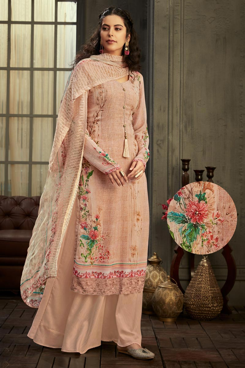 Party Wear Viscose Fabric Classic Peach Color Printed Palazzo Dress