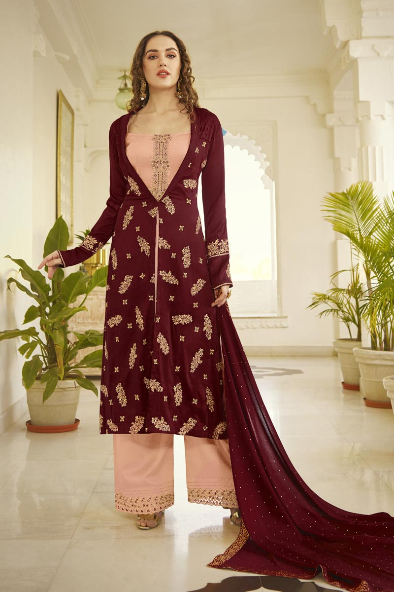 Party Style Fancy Fabric Peach Color Embroidered Palazzo Suit