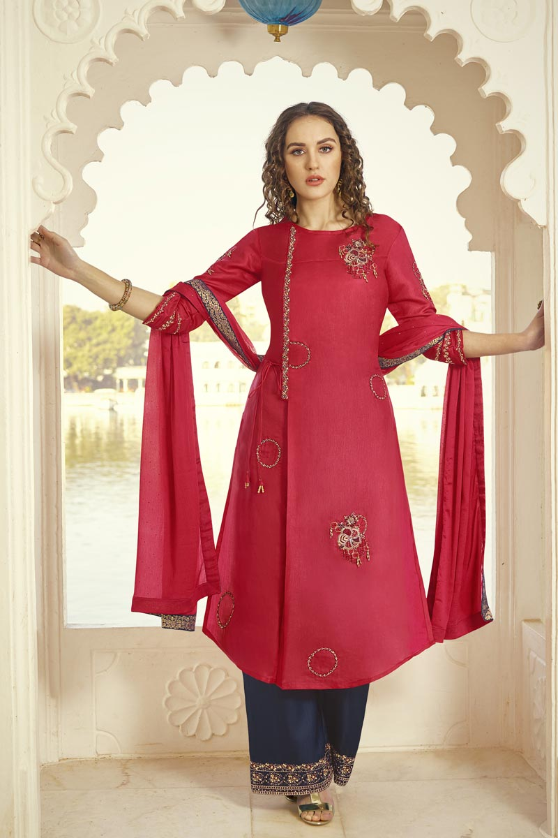 Pink Color Party Style Embroidered Fancy Fabric Palazzo Dress