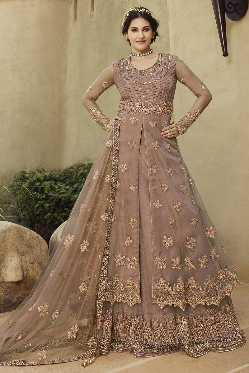 Net Fabric Party Wear Anarkali Salwar Suit In Chikoo Color With Embroidery Work