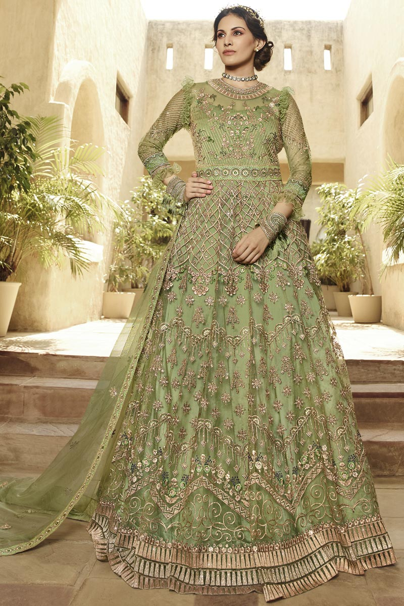 Embroidery Work Green Color Net Fabric Anarkali Salwar Suit