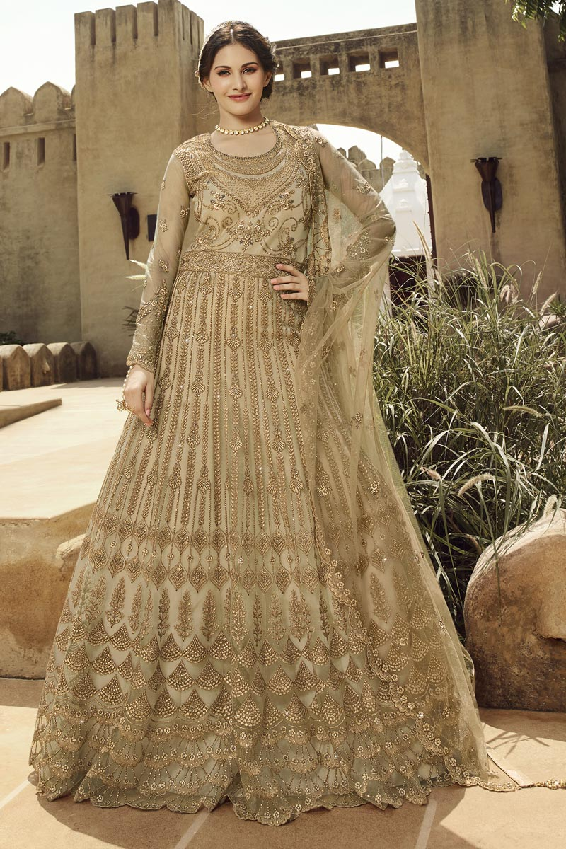 Festive Special Net Fabric Cream Color Anarkali Suit With Embroidery Work