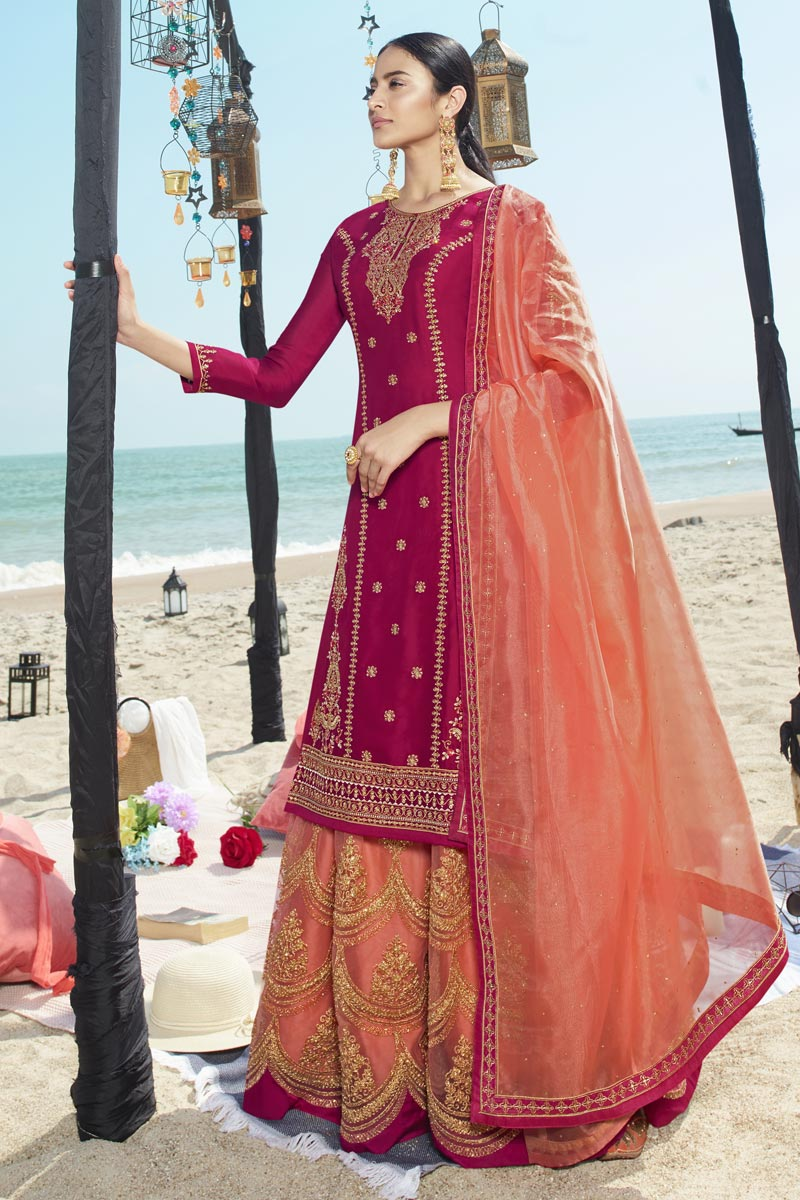 Georgette Fabric Function Wear Embroidered Sharara Style Palazzo Dress In Rani Color