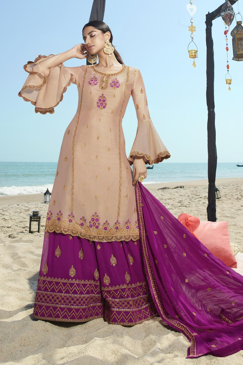 Dark Beige Color Function Wear Embroidered Georgette Fabric Sharara Style Palazzo Dress