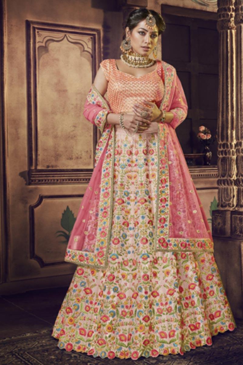 Art Silk Fabric Embroidered Sangeet Function Wear Designer Lehenga Choli