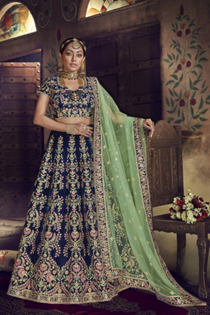 Festive Special Designer Velvet Fabric Embroidered Navy Blue Color Lehenga Choli