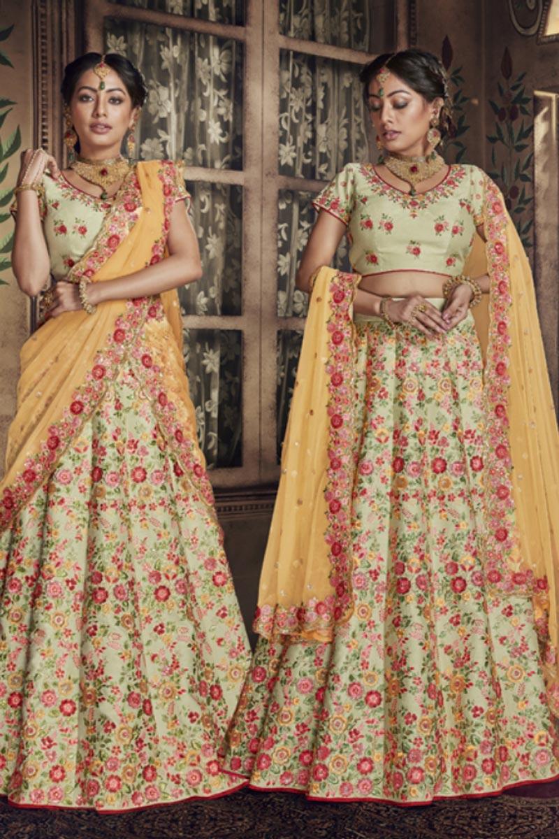 Designer Beige Color Lehenga Choli In Art Silk Fabric