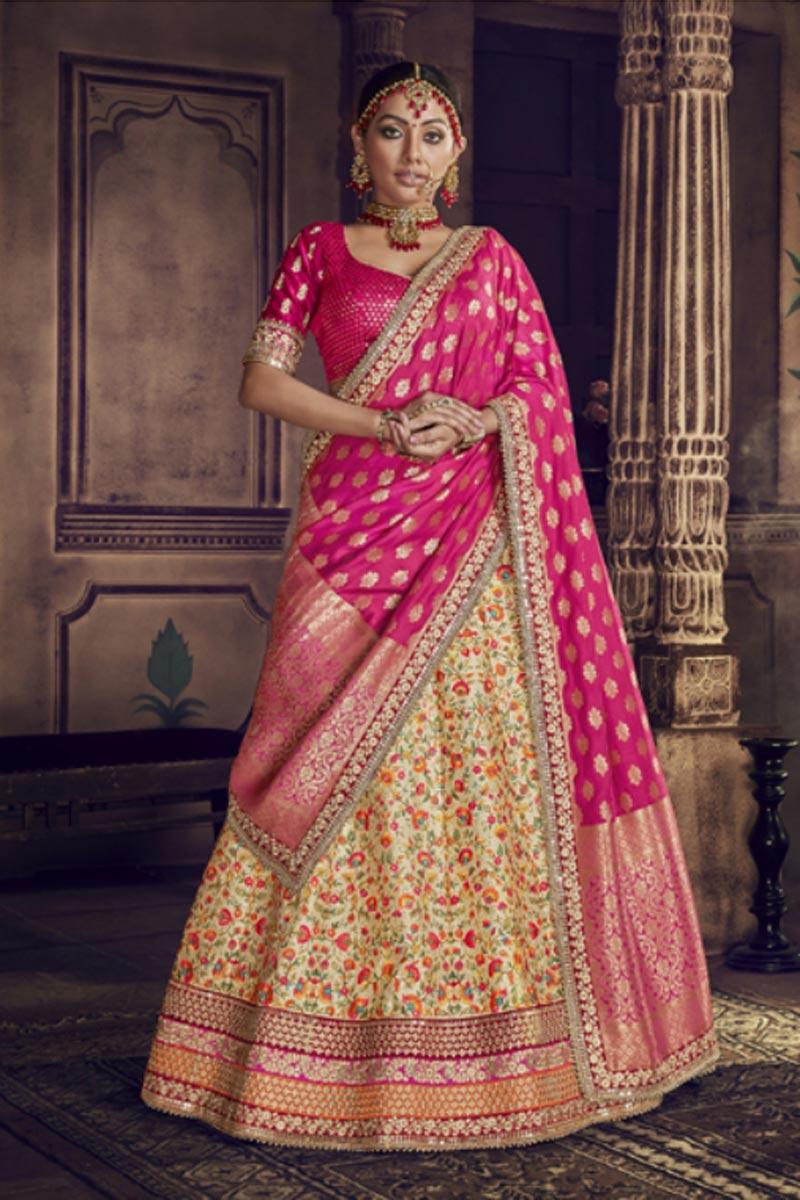 Festive Special Designer Beige Color Traditional Embroidered Lehenga Choli