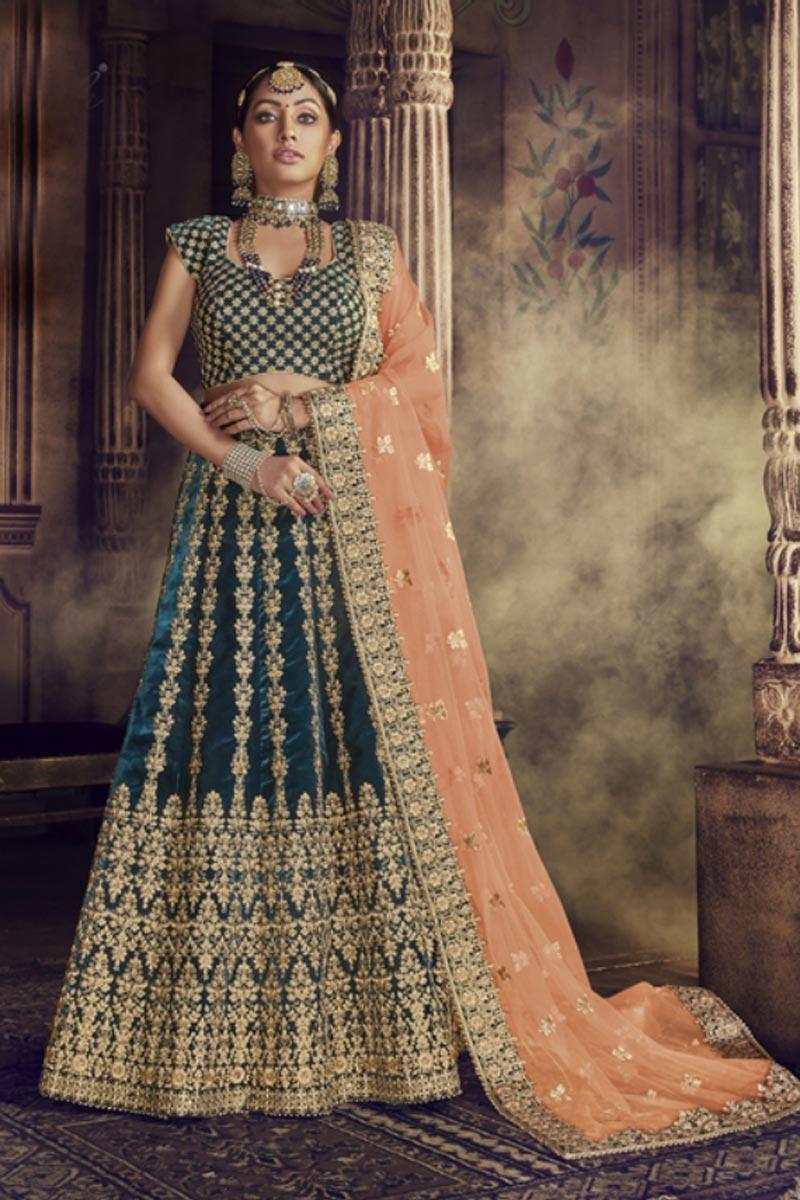 Festive Special Teal Color Embroidered Wedding Wear Designer Velvet Fabric Lehenga Choli