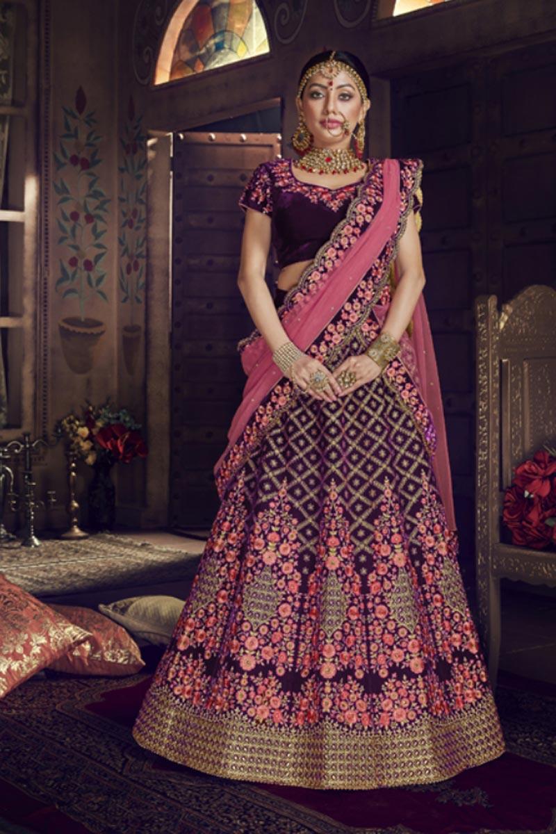 Designer Purple Color Embroidered Velvet Fabric Lehenga Choli