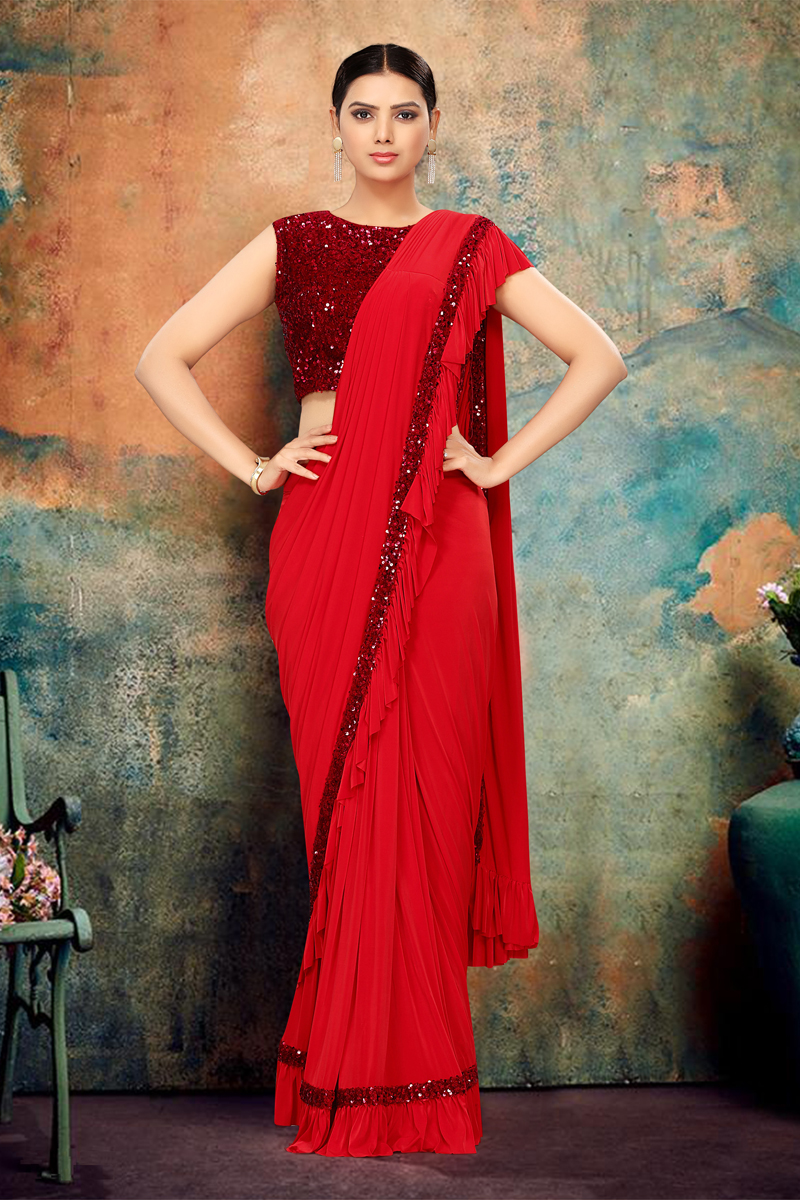 Festive Special Red Color Designer Ruffle Saree In Lycra Fabric