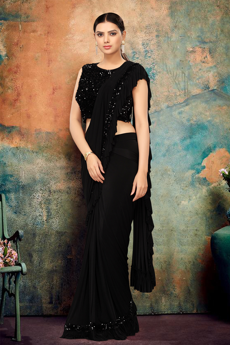 Lycra Fabric Party Wear Ruffle Saree In Black Color