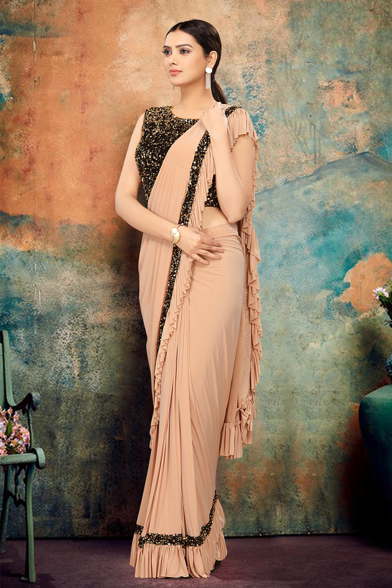 Lycra Fabric Chikoo Color Ruffle Saree For Wedding Function