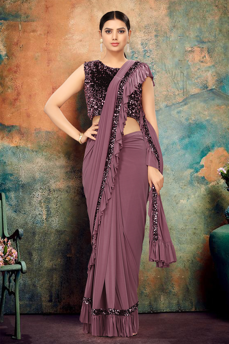 Wine Color Designer Ruffle Saree In Lycra Fabric