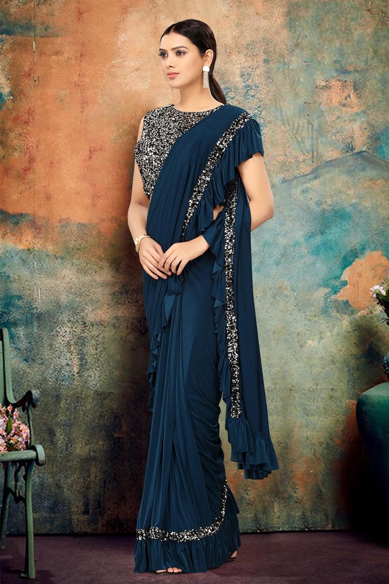 Festive Special Lycra Fabric Dark Teal Color Designer Ruffle Saree