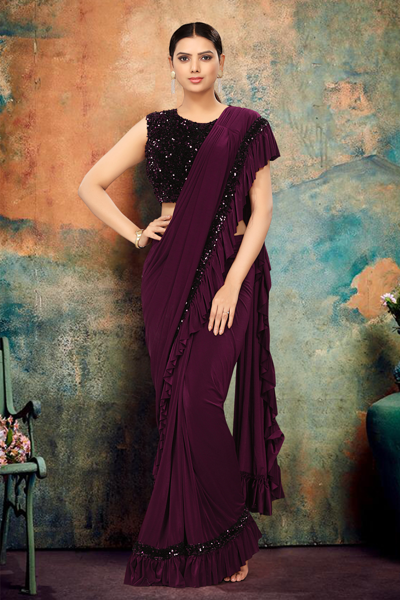 Purple Color Party Wear Ruffle Saree In Lycra Fabric