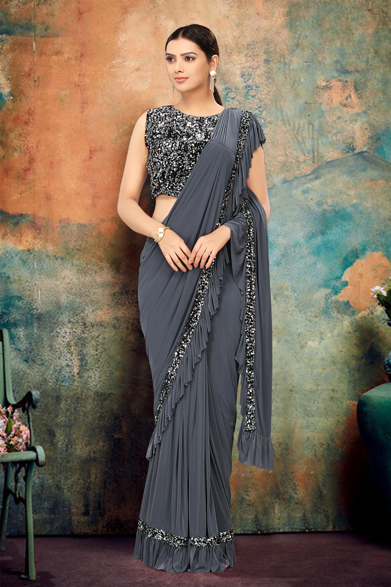 Festive Special Lycra Fabric Designer Ruffle Saree In Grey Color
