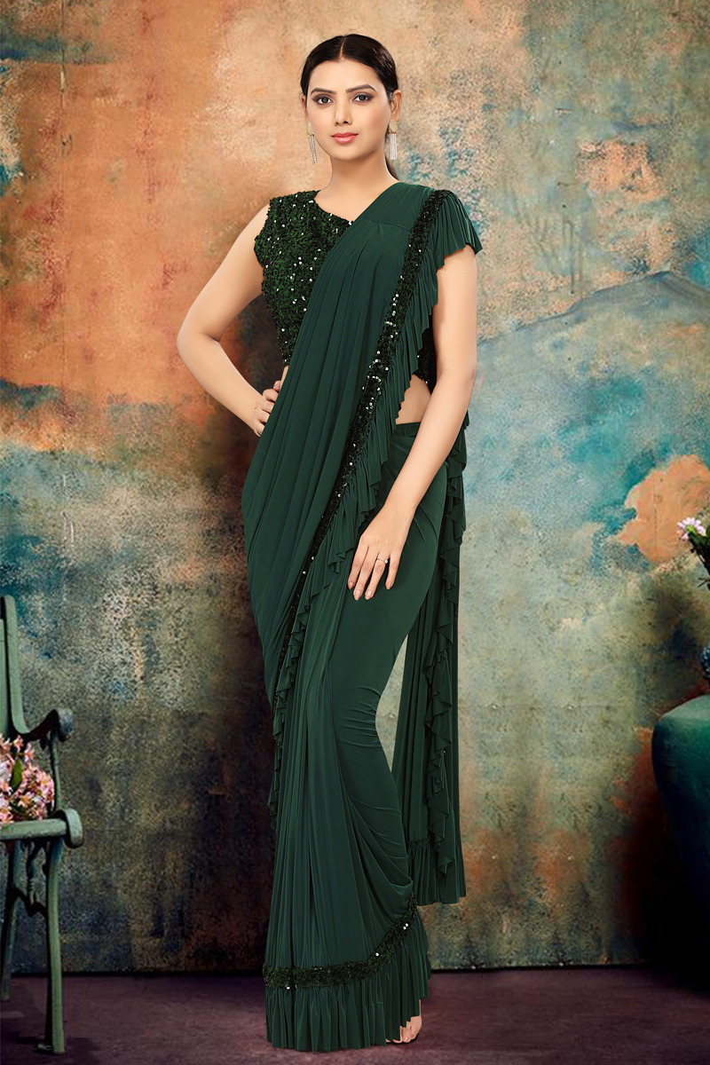 Dark Green Color Lycra Fabric Occasion Wear Ruffle Saree